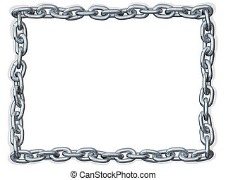 Chain link Frame border - Metal chain shaped in a rectangle...