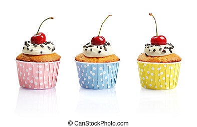 Cupcakes with fresh cherry - Cupcakes with whipped cream and...