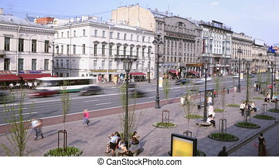 Nevsky Prospect Time lapse - SAINT-PETERSBURG - May 20: Time...