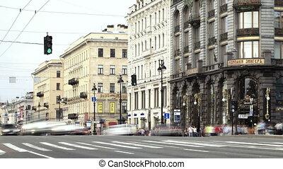 Nevsky Prospect. Pedestrian crossing. Time lapse.
