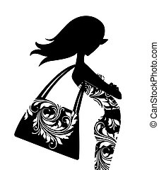Fashion Silhouette - Silhouette of a chic young woman with a...