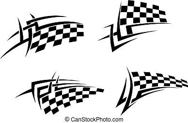 Tribal tattoo with racing flag - Tribal tattoos set with...