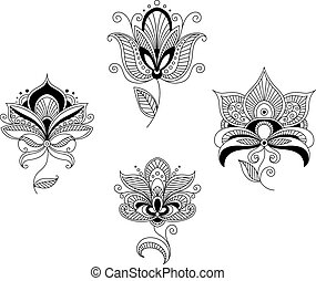 Set of abstract floral blossoms