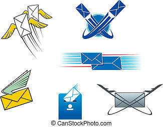 Post mail and letters symbols for postal service concept...