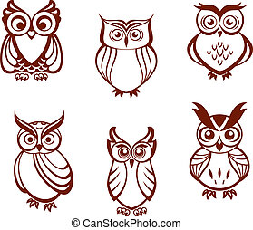 Set of cartoon owls for wisdom or education concept design...