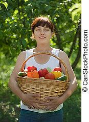 legumes, jardim, menina, Feliz
