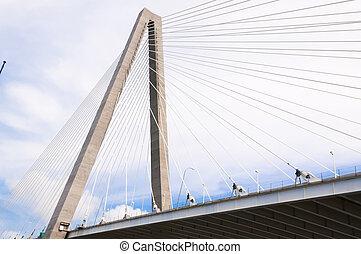 Arthur, Ravenel, Jr, Puente, encima, tonelero, río,...