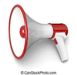 loud hailer - one loudhailer in red and white colors (3d...