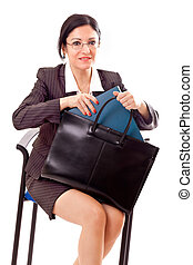 Professional Woman With Documents Bag - Beautiful...