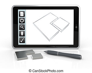 drawing on mobile device - one tablet pc with a drawing app...