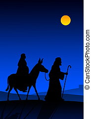 Holy night - Joseph and Mary with donkey on the way to...