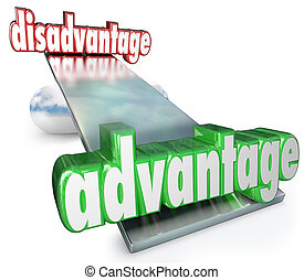 Competitive Advantage Vs Disadvantage See-Saw Balance Scale...