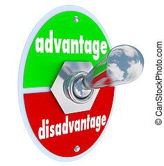 competitivo, ventaja, contra, Desventaja, palanca,...