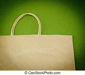 Shopping Bag - A shopping bag on a green background