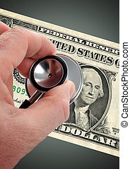 Money Doctor - Doctor verify money disorder by a stethoscope