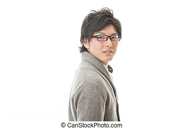 man who wore glasses - young asian man who wore glasses
