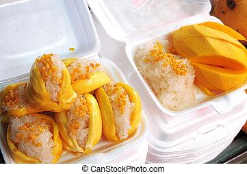 arroz, frutas, cocido al vapor,  Mongo, pegajoso