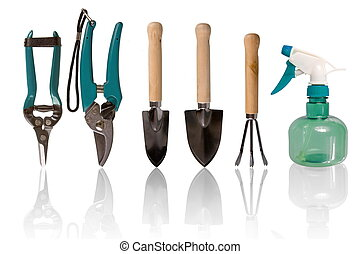 Small gardening tools - Five gardening tools and one spaying...
