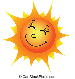 Happy sun - Illustration of a happy cartoon sun on a white...