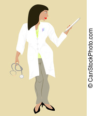 black doctor woman - vector in editable eps format, black...