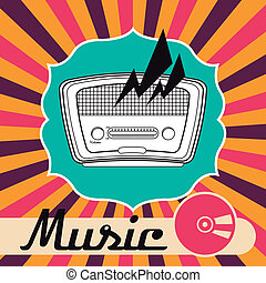 radio retro over grunge background vector illustration