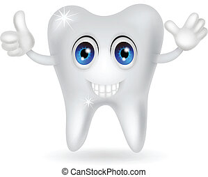 happy tooth cartoon - vector illustration of happy tooth...