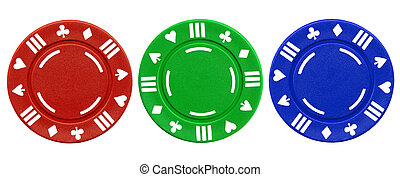 Colorful poker chips. - Colorful red green and blue clay...
