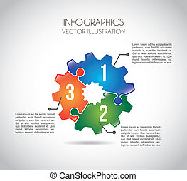 infographics gears over gray background vector illustration