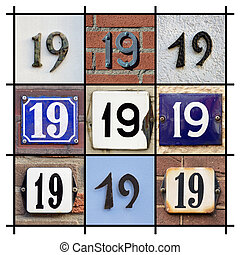 Numbers Nineteen  - Collage of House Numbers Nineteen