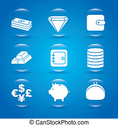 finance bubbles over blue background vector illustration