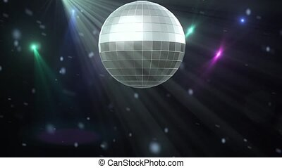 Disco ball with lights and lens flares in loop mode