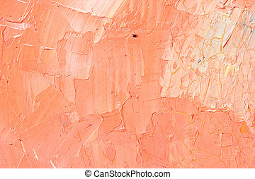 Detailed orange acrylic color abstract artwork painting on...