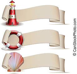 Set of banners with marine icons. Vector illustration