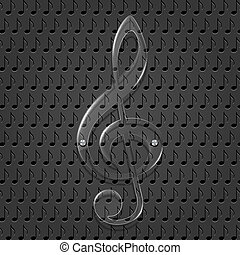 Glass treble clef on metal texture background.