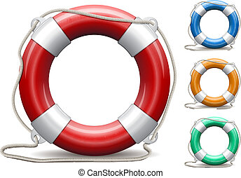 Set of life buoys on white background.