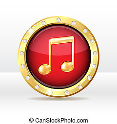 Music icon - Gold button with musical note sign. Music icon....