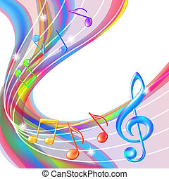 Colorful abstract notes music background Vector illustration...