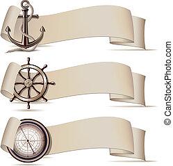 Conjunto, banderas, marina, iconos
