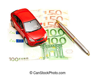 Toy car, pen and money over white Rent, buy or insurance car...