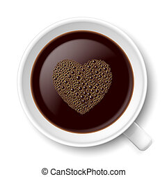 Mug of coffee. Top view illustration on white background for...