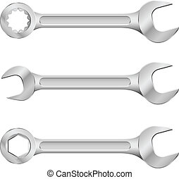 Steel spanners. Illustration on white background for design.