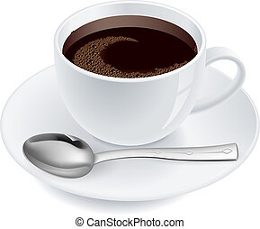 Coffee with spoon Illustration on white background