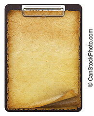 clipboard - antique clipboard with blank paper. isolated on...