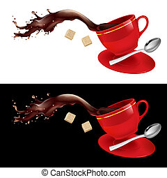Coffee in red Cup. Illustration on white and black...