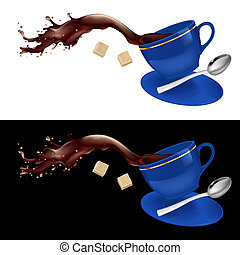 Coffee in blue cup. Illustration on white and black...