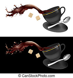 Coffee in gray cup. Illustration on white and black...