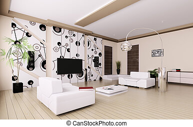 Modern living room interior 3d - Interior of modern living...