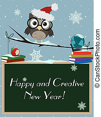 Owl Happy and Creative New YearLittle brown owl on snowy...