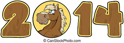 2014 Year Wood Cartoon Numbers With Horse Face Over A Circle