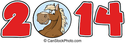 2014 Year Numbers With Horse Face - 2014 Year Cartoon...
